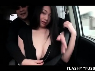 Japanese temptress flashing her hot boobies in taxi-cub