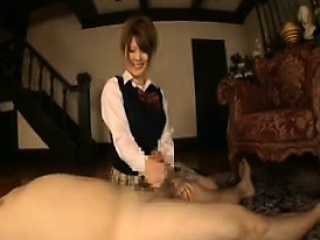 Cute Asian wench grabs his..