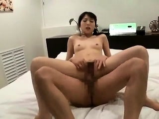 Asian cutie fucked in her hairy snatch gives hot blowjob