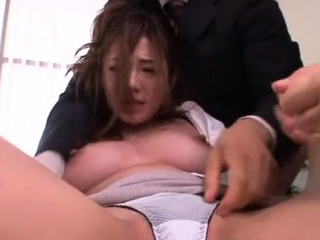 Japanese election chick relaxes while getting twat teased