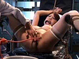 Butt plugged stockings clad good-luck piece hoe toys her pussy