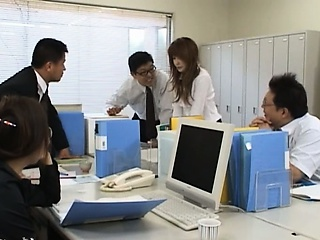 Asian secretary outsider Tokyo with bum milk