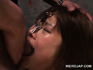 Asian naked sex slaved in thongs gets cunt toyed hardcore
