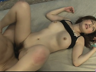 Petite Sayaka Tsuzi gets the brush hairy pussy toyed